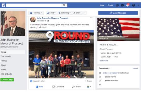 Facebook Mayor John Evans